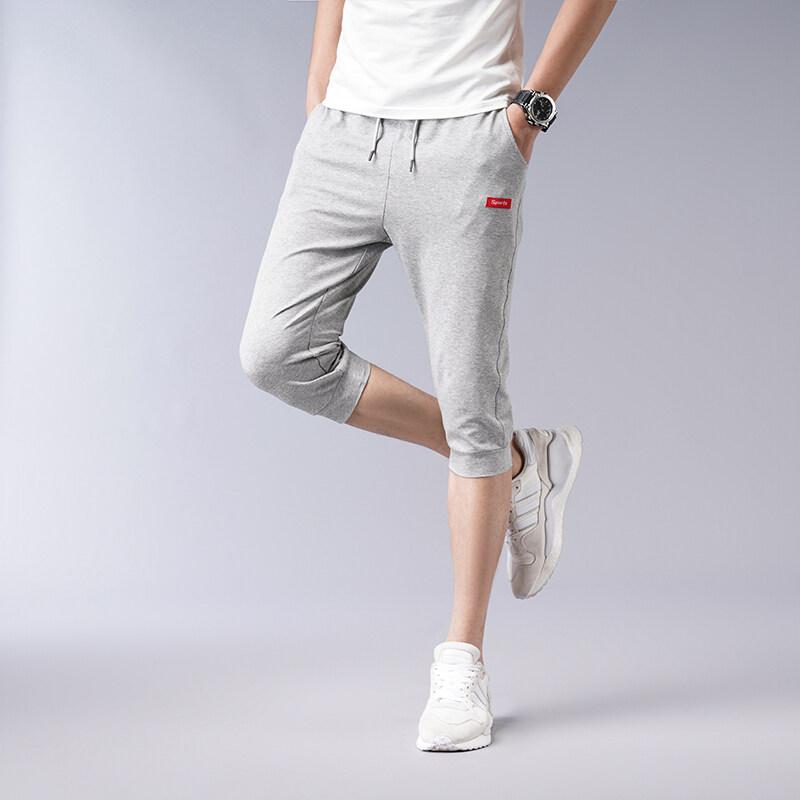 七分裤男2019夏季新款男士韩版修身运动休闲短裤男红标薄款7分裤