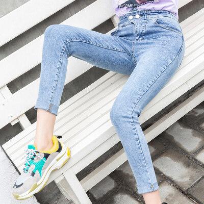 不规则高腰牛仔裤女2019春季新款修身显瘦小脚裤长裤