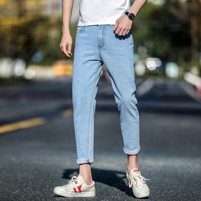 缤客#春夏主推新款男士破洞牛仔裤修身小脚九分裤韩版潮流浅色裤