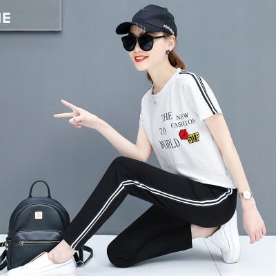 图荣休闲套装女夏装韩版时尚字母印花运动服短袖九分裤二件套女装