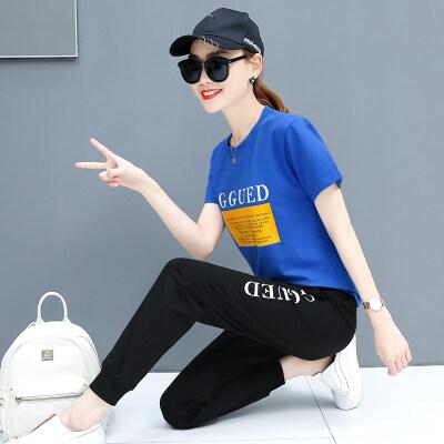 图荣女生短袖休闲套装夏季韩版时尚字母印花运动服二件套跨境货源