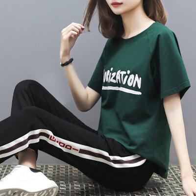 图荣夏季女生休闲套装韩版时尚潮流印花短袖九分裤运动两件套女装