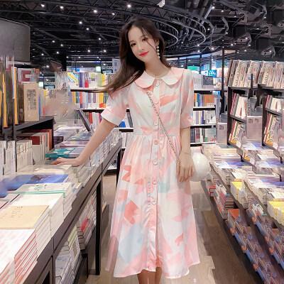 2019夏天新款网红娃娃领单排扣吊带短袖粉色大花连衣裙A字裙