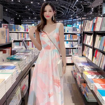 2019夏天新款网红娃娃领单排扣吊带短袖粉色大花连衣裙A字