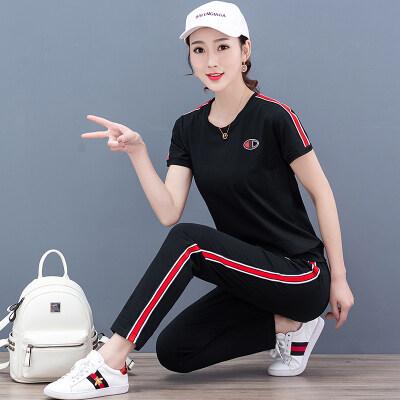 2019韩版时尚圆领短袖运动套装女夏季两件套七分裤休闲服潮