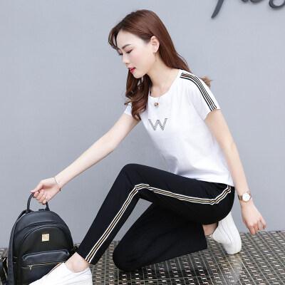 休闲运动服套装女夏季2019新款短袖长裤时尚潮流女神范洋气