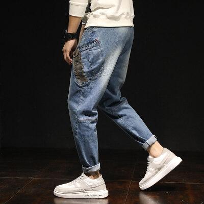 休闲牛仔裤男宽松潮流大码弹力小脚哈伦裤子秋季新款韩版修身长裤