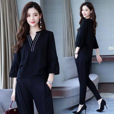 春夏季女时尚套装2019新款两件套韩版港风气质显瘦时髦灯笼袖