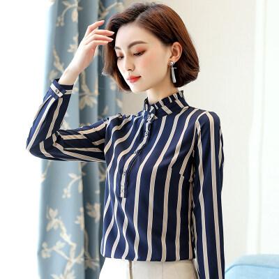 图荣长袖女士衬衣春秋新款韩版气质职业OL立领条纹显瘦雪纺衬衫