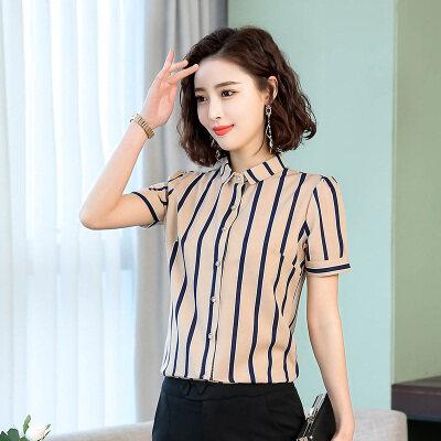 图荣夏季短袖衬衣女韩版气质OL职业翻领条纹显瘦雪纺衬衫女装