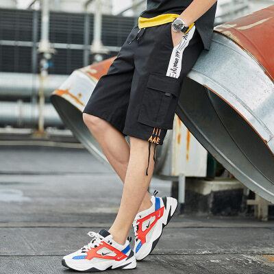 牧比斯男装 2019夏季新款工装短裤男多口袋纯色全棉直筒休闲裤