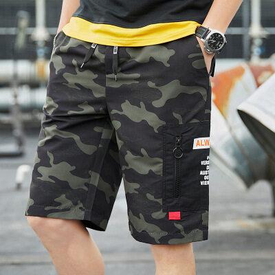 2019夏季新款男士休闲短裤男式工装中裤纯棉宽松五分裤韩版运动裤