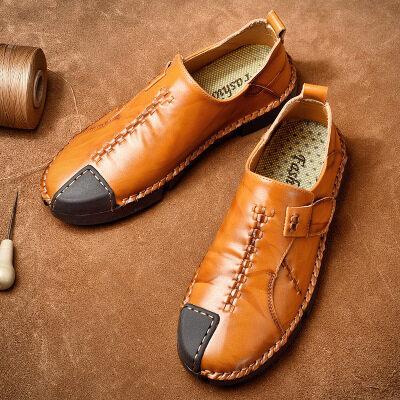 皮鞋男手工缝线跨境大码皮鞋套脚休闲驾车造型师皮鞋商务纯色单鞋