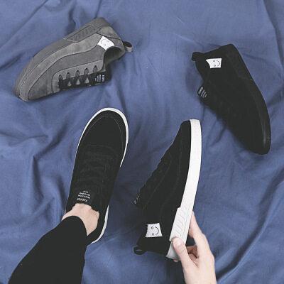 新款男士休闲鞋纯色个性英伦潮流社会小青年舒适百搭学生简约板鞋