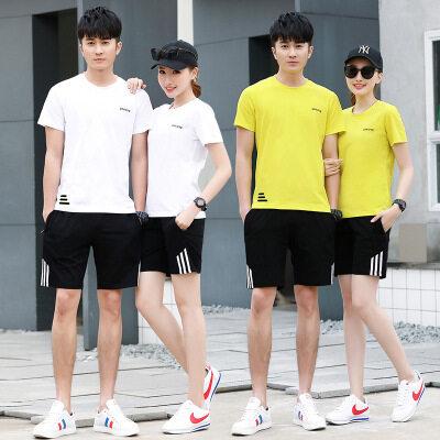 运动套装男夏季短裤短袖套装夏装纯棉休闲运动服新款宽松情侣套装
