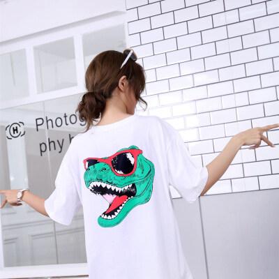 新款韩范宽松短袖T恤女网红同款卡通恐龙字母印花ins超火百搭