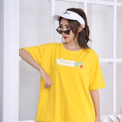 韩范宽松短袖T恤女卡通太阳花字母印花ins简洁百搭上衣