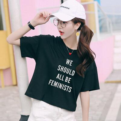2019新款夏装韩范学生高腰短款字母印花短袖t恤女打底衫