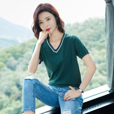 T恤女装2019新款潮韩版宽松v领上衣服冰丝打底衫女薄款体恤