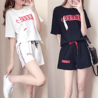 休闲运动套装女夏新款韩版时尚宽松短袖大码短裤跑步两件