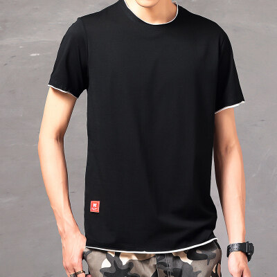 纯棉短袖T恤男圆领双领双袖口双下摆青少年时尚2019夏季新款