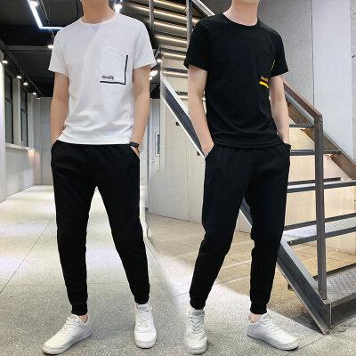 夏季短袖冰丝t恤男士套装韩版潮流休闲