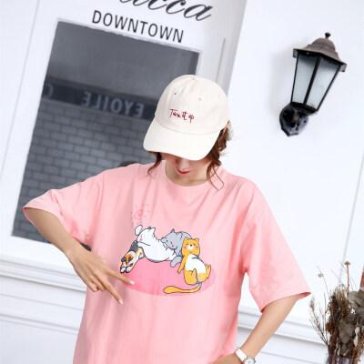韩范宽松短袖T恤女卡通小太阳睡猫印花ins可爱百搭上衣