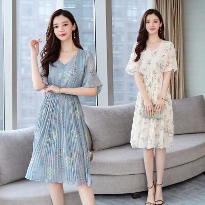2019夏装新款女装韩版修身碎花仙女裙中长款短袖雪纺连衣裙女