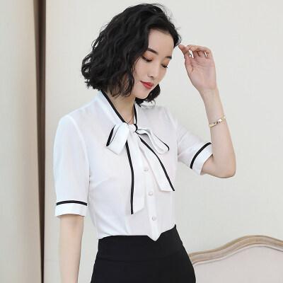 图荣女装短袖雪纺衫夏季款韩版时尚优雅OL蝴蝶结系带撞色上衣