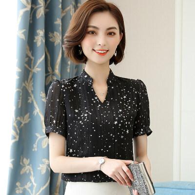 图荣夏装新款韩版V领雪纺衫女短袖气质时尚超仙星星印花上衣女装