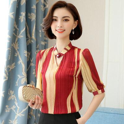 图荣夏季新款短袖雪纺衫女韩版时尚OL撞色条纹上衣设计感显瘦女
