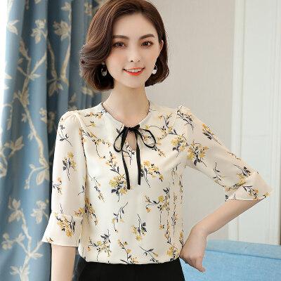 图荣短袖雪纺衫女夏季韩版时尚气质系带植物印花上衣女装一件代发