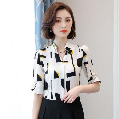 图荣夏季短袖雪纺衫女韩版时尚几何印花V领衬衣上衣女装一件代发
