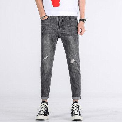 主推款822# 破洞牛仔裤薄款修身小脚九分裤夏季 灰色