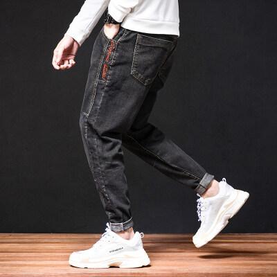秋冬新款牛仔裤男九分哈伦弹力宽松大码小脚黑色长裤修身韩版潮流