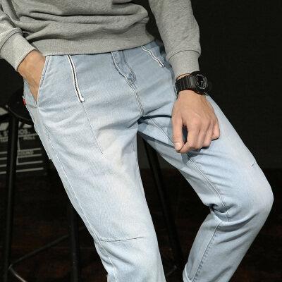 男士九分破洞牛仔裤潮牌修身小脚宽松直筒百搭9分裤子男韩版潮流