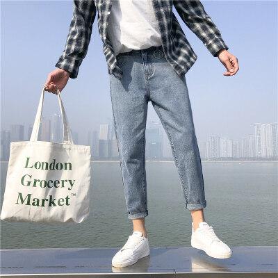 铁环K15 男士牛仔裤 九分裤下装裤子 百搭水洗蓝色纯色9分男裤