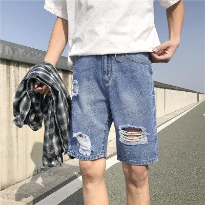 铁环K25 男士蓝色破洞牛仔裤 港风短裤中裤五分裤 下装裤子学生潮