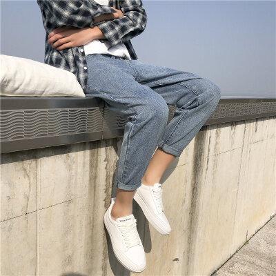 铁环K15 夏季港风纯色 蓝色男士牛仔裤 水洗裤子男宽松直筒老爹裤