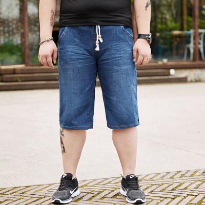 大码男装夏季短裤松紧腰加肥加大牛仔中裤系带胖子弹力马裤肥佬裤