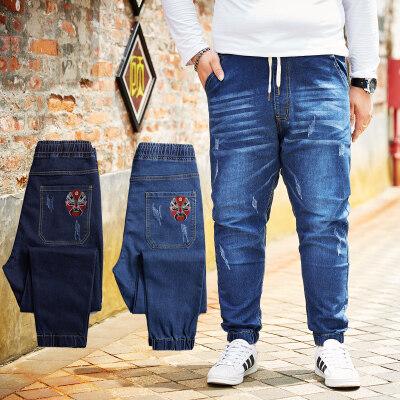 日系加肥加大弹力牛仔裤哈伦松紧腰长裤大码男装肥佬裤胖子束脚裤