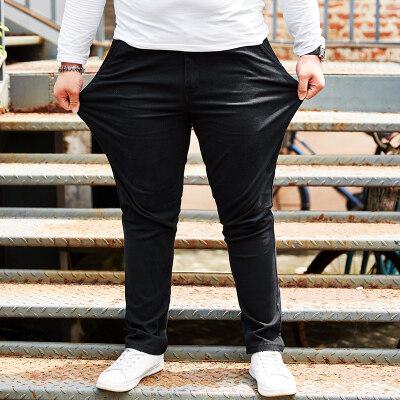 大码男装耐磨肥佬裤加肥加大休闲裤中高腰裤子弹力西裤胖子裤子