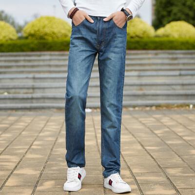 韩版潮男商务中高腰耐磨修身牛仔裤小直筒宽松加肥加大男士长裤子