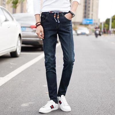 四季耐磨男士弹力松紧腰修身休闲牛仔裤韩版潮系带高腰小直筒长裤