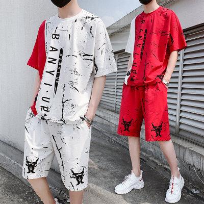 男士个性t恤潮流半袖港风学生休闲帅气套装韩版一套搭配帅