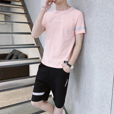 男士短袖t恤2019新款潮流韩版休闲短袖短裤套装两件套男装