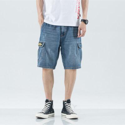 2019新款牛仔短裤男宽松大码浅色五分裤夏季薄款工装裤直筒中