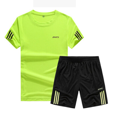 2019夏季男式休闲运动套装薄款短袖短裤宽松速干T恤跑步一件代发