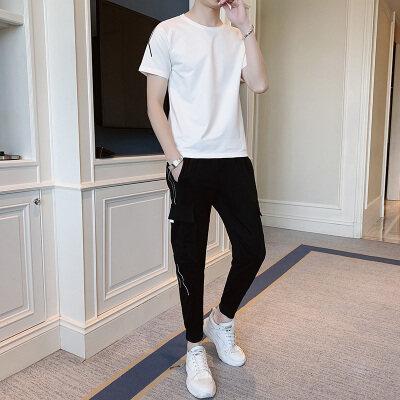 夏季套装男潮流韩版宽松青年休闲套装两件套运动服