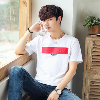 微潮男装夏季新款男士短袖T恤韩版潮流圆领休闲半袖91756